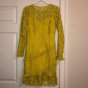 Pretty Little Thing yellow lace dress
